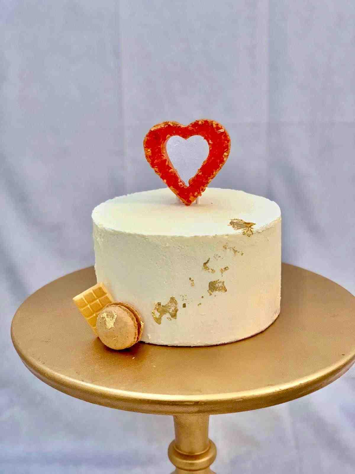 Tarta Corazón Geoda con oro de 24 kilates
